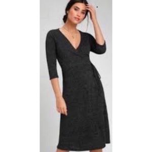 Lulu's Charcoal Gray Sweater Wrap Midi Dress